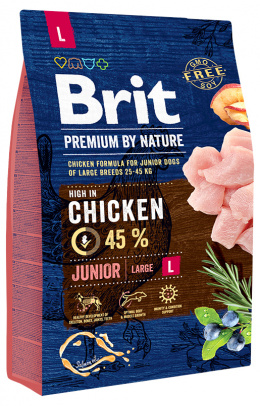 Barība kucēniem - Brit Premium by Nature Junior L, 3 kg