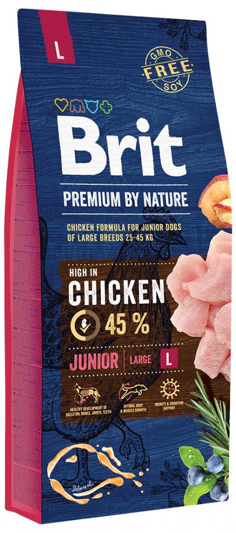 Корм для щенков – Brit Premium By Nature Junior L, 15 кг title=