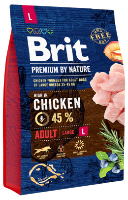 Корм для собак - BRIT Premium By Nature, Adult L, 3 кг