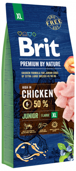 Barība suņiem - Brit Premium by Nature Junior XL, 15 kg