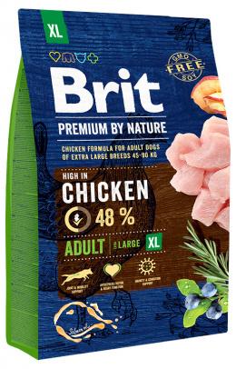 Корм для собак - BRIT Premium By Nature Adult XL, 3 кг