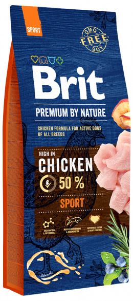 Barība suņiem - BRIT Premium By Nature Sport, 15 kg