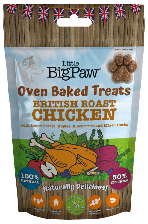 Gardums suņiem - Little Big Paw Oven Baked Treats, Chicken, 130 g