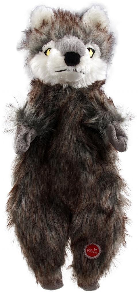 Rotaļlieta suņiem – Dog Fantasy Good's Skinneeez wolf plush, 34 cm title=