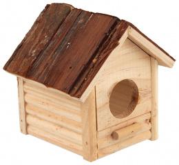 Деревянный домик для грызунов - SMALL ANIMAL Budka with bark, 12 x 12 x 13.5 см