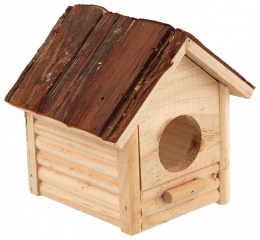 Koka māja grauzējiem - SMALL ANIMAL Budka with bark, 12 x 12 x 13.5 cm