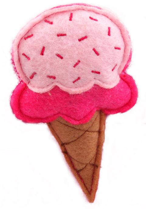 Игрушка для кошек - LET`S PLAY ice cream with catnip 10 см, pink title=