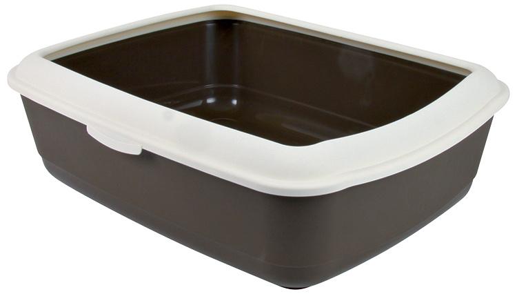 Туалет для кошек - Classic cat litter tray with rim 37*15*47cm, коричневый/кремовый