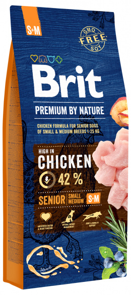 Корм для собак - BRIT Premium By Nature Senior S+M, 15 кг