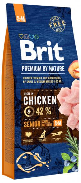 Корм для собак - BRIT Premium By Nature Senior S+M, 15 кг