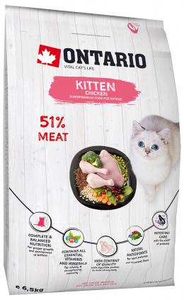 Barība kaķēniem - Ontario SP Cat Kitten Chicken, 6,5 kg