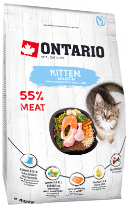 Barība kaķēniem - Ontario SP Cat Kitten Salmon, 0,4 kg