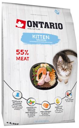 Barība kaķēniem - Ontario SP Kitten Salmon, 6,5 kg