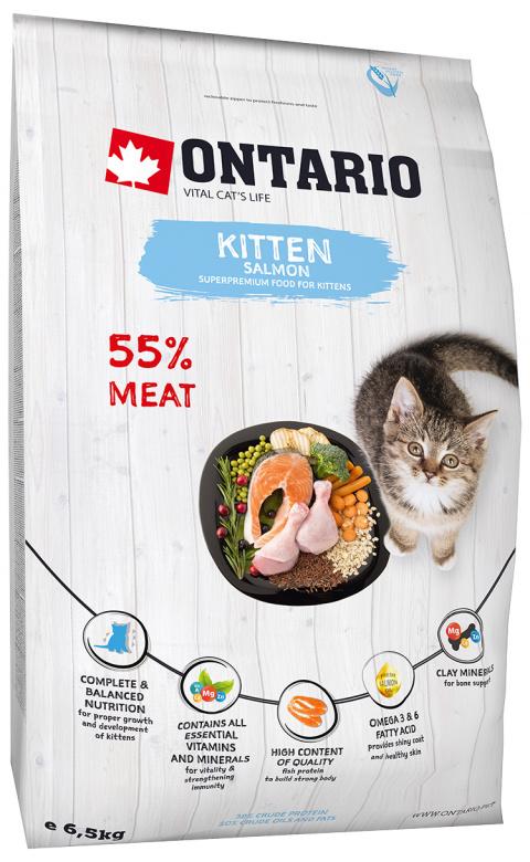 Корм для котят - Ontario SP Cat Kitten Salmon, 6,5 кг title=