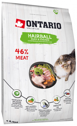 Barība kaķiem - Ontario SP Cat Hairball, 6.5 kg