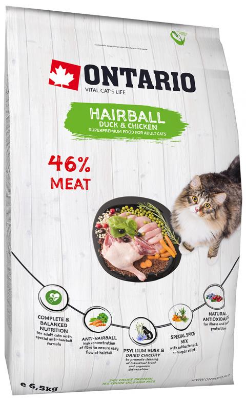 Корм для кошек - Ontario SP Cat Hairball, 6,5 кг title=