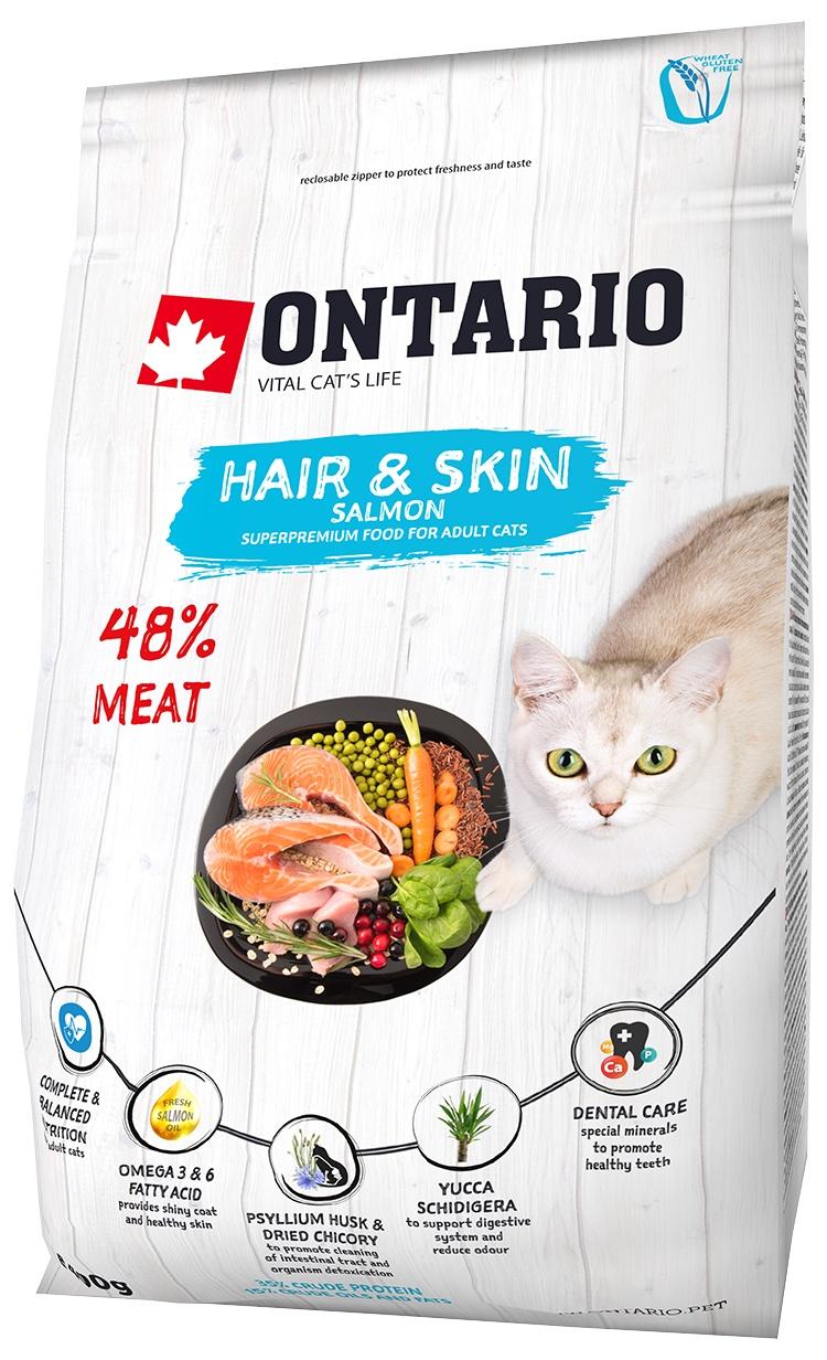 Barība kaķiem - Ontario SP Cat Hair & Skin, 0.4 kg
