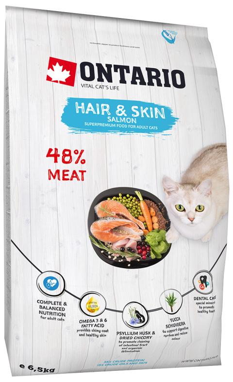 Корм для кошек - Ontario SP Cat Hair & Skin, 6,5 kg title=