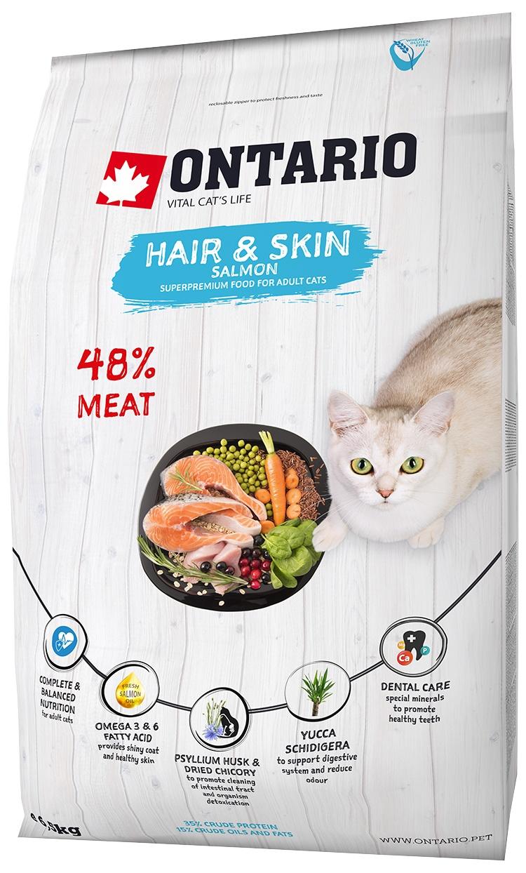 Корм для кошек - Ontario SP Cat Hair & Skin, 6,5 kg