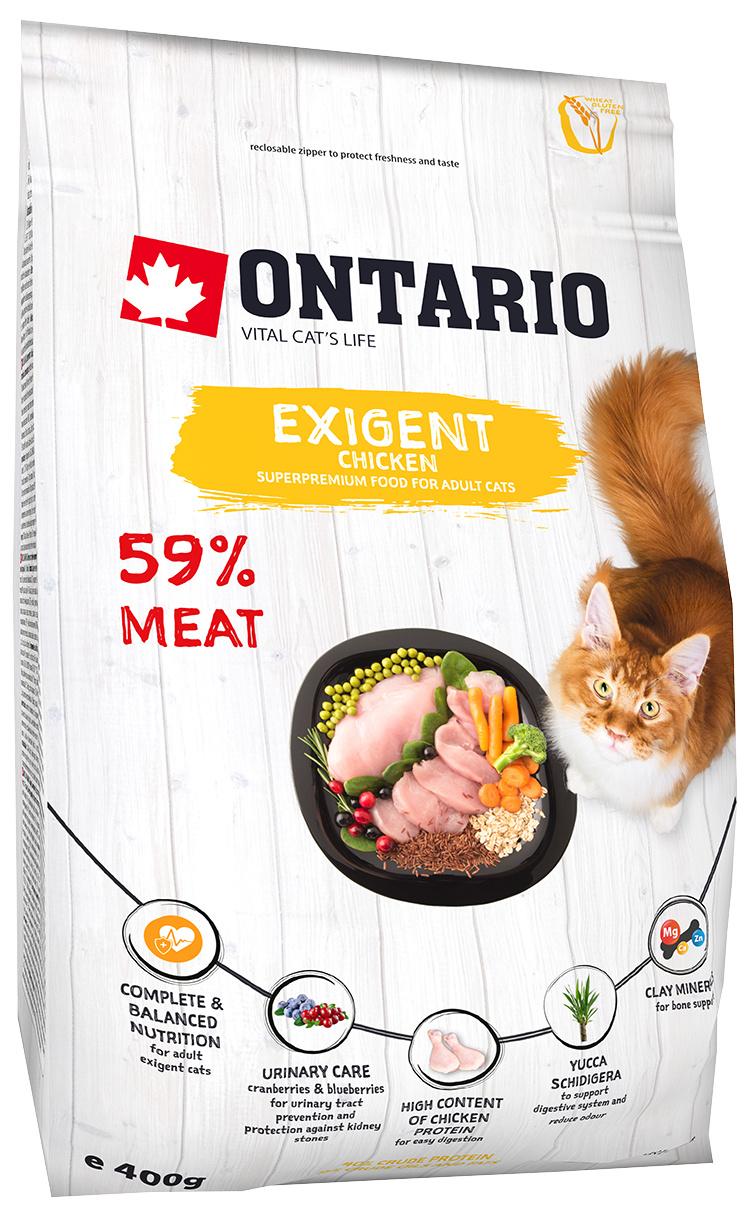 Barība izvēlīgiem kaķiem - Ontario SP Cat Exigent, 0.4 kg