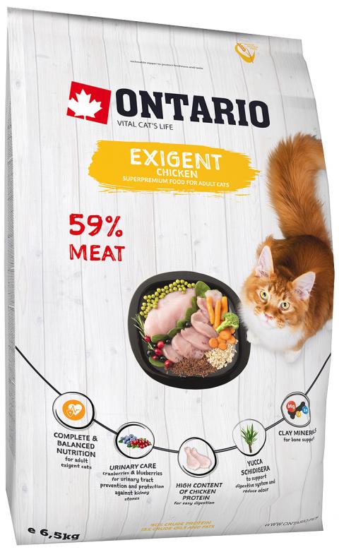 Barība izvēlīgiem kaķiem - Ontario SP Cat Exigent, 6.5 kg