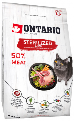 Корм для кошек - Ontario SP Cat Sterilised, Lamb, 0,4 kg