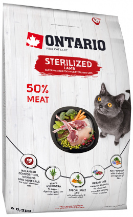 Barība kaķiem - Ontario SP Cat Sterilised Lamb, 6,5 kg