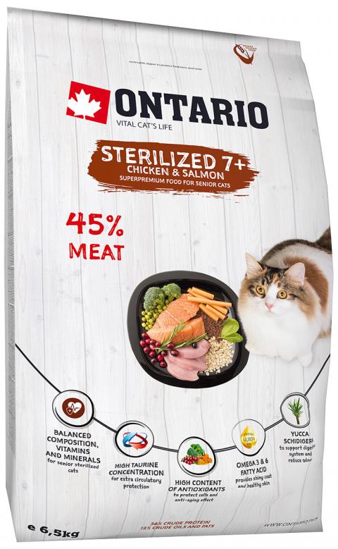 Barība kaķiem - Ontario SP Cat Sterilised 7+, 6.5 kg