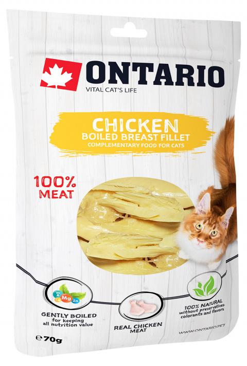 Лакомство для кошек -  Ontario отварное куриное филе, 70 г
