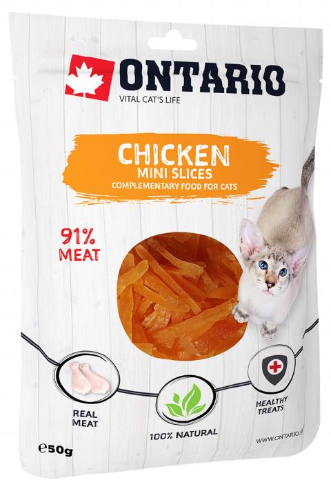 Gardums kaķiem - Ontario Mini Chicken Slices, 50 g title=