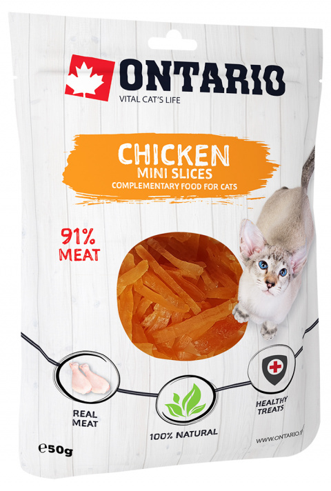 Лакомство для кошек - Ontario Mini Chicken Slices, 50 г title=