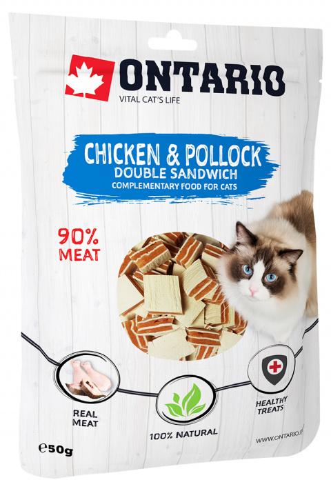 Лакомство для кошек - Ontario кусочки курицы с минтаем, 50 гр