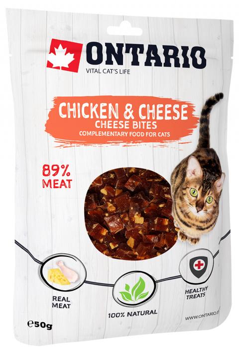Лакомство для кошек - Ontario Chicken and Cheese Bites, 50 г title=