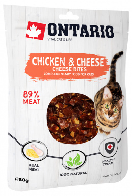 Лакомство для кошек - Ontario кусочки курочки с сыром, 50 г