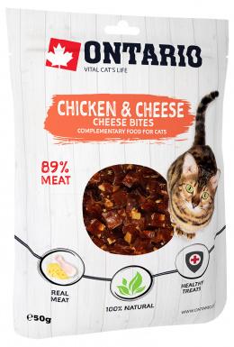 Лакомство для кошек -  Ontario кусочки курочки с сыром, 50 гр
