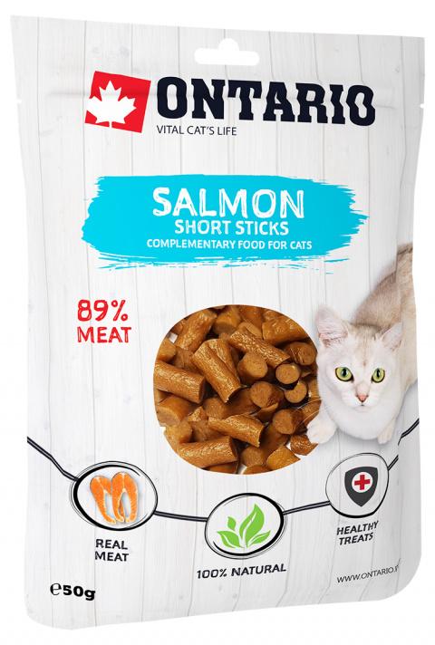 Gardums kaķiem - Ontario nūjiņas no laša gaļas, 50 gr