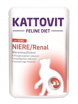 Veterinārie konservi kaķiem – Kattovit Pouch Kidney/Renal Beef, 85 g