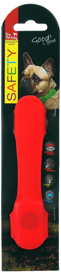 Отражающий ошейник - Dog Fantasy Collar Cover LED, light red, 15 cм