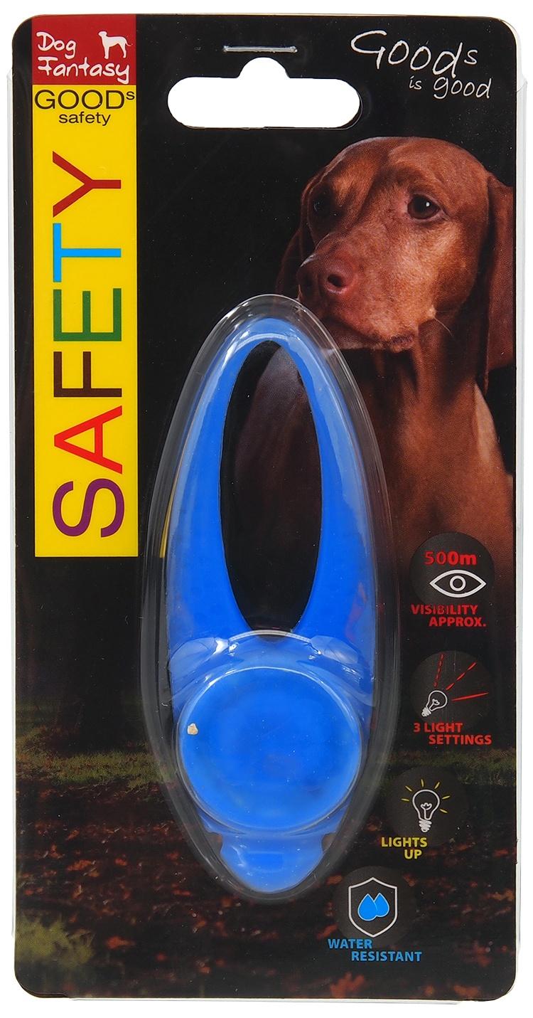 Atstarojošs piekariņš suņiem - Dog Fantasy Blinker LED silicone, blue, 8 cm