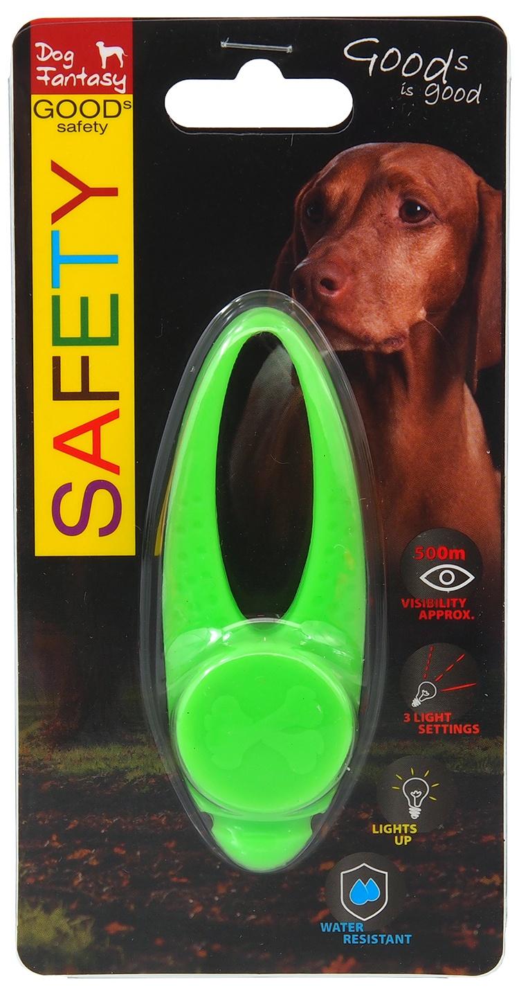 Atstarojošs piekariņš suņiem - Dog Fantasy Blinker LED silicone, green, 8 cm