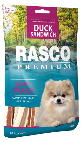 Gardums suņiem – Rasco Premium Duck Sandwich, 80 g