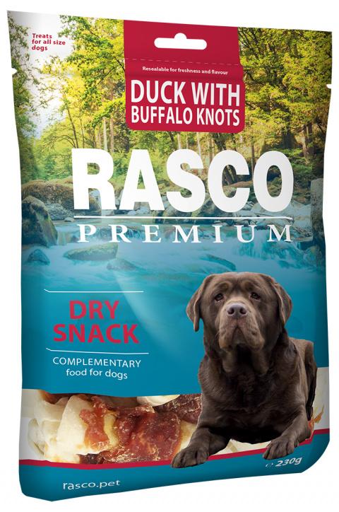 Gardums suņiem - Rasco Premium Duck With Buffalo Knots, 230 g title=