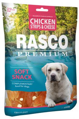 Gardums suņiem - Rasco Premium Chicken Strips & Cheese, 230 g