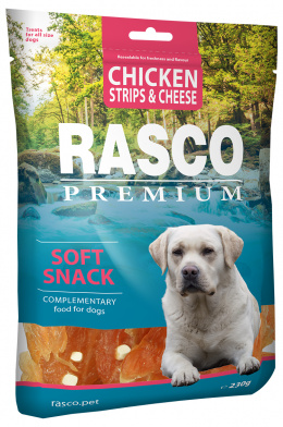 Gardums suņiem - Rasco Premium Chicken Strips & Cheese, 230 g