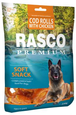 Лакомство для собак - Rasco Premium, Рулетики из трески, завёрнутые в курицу, 230 г
