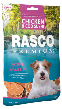 Gardums suņiem - Rasco Premium Chicken & Cod Sushi, 80g