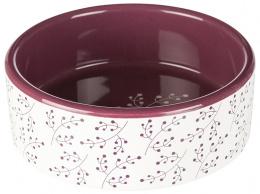 Керамическая миска для собак - Trixie Ceramic Bowl, flower motif, 0,3л, белая с бордовым