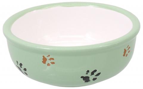 Миска для кошек - MAGIC CAT, Ceramic Bowl with Paws, green, 13 см title=