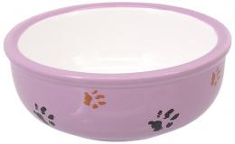 Bļoda kaķiem – MAGIC CAT, Ceramic Bowl with Paws, Purple, 13 cm