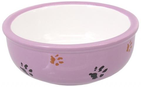 Миска для кошек - MAGIC CAT, Ceramic Bowl with Paws, purple, 13 см title=